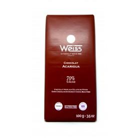 Tablette Chocolat Noir Acarigua 70% aux éclats de fèves, 100g